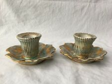 Stangl Art Pottery Antique Gold Aqua Candlestick Holders 22 Kt. Gold