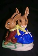 "Vintage 1972 Royal Doulton Billie & Buntie Bunnykins ""Sleigh Ride"" D84 Figurines"