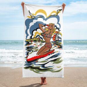 Vintage Girl Bikini Surfer Beach Towel/Bath Towel, Vintage Print Towel