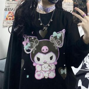 Kawaii Black Kuromi Oversized Pullover Harajuku Sanrio Anime Cartoon Loose Top