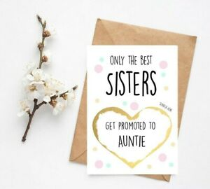 Pregnancy Announcement Card Sister Get promoted To Auntie Reveal Scrach