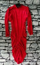 Vintage 80s red crushed velvet ruched wiggle fitted dress 10 12