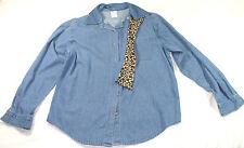 Cascade Blues medium blue denim shirt with detachable collar, size M