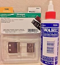 WAHL STRAIGHT STANDARD TRIMMER BLADE OIL & SCREWS #1046 PLUS WAHL BLADE OIL 4OZ