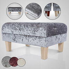 NEW FOOTSTOOL  - CRUSHED VELVET - FOOT REST SMALL - LARGE FABRIC STOOL