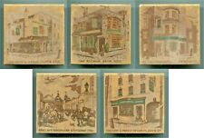 "Set of 5 screen printed 4""sq tiles ""Pubs"" by Sir John Bowman, Purbeck Tiles 1952"
