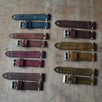 18/20/22/24mm Handmade Genuine Calf Leather Watch Band Soft Thick Strap Replace