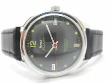 hmt pilot hand winding men's steel white dial vintage made in india watch run.