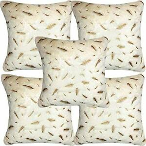 Ultra Soft Fur Golden Printed Cushion Cover Pack of 5 pc.16 x 16 in off white us