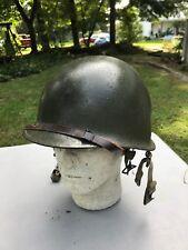Late WW2/Korean War US M1 Paratrooper Helmet Westinghouse Liner Named (A466