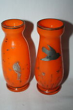 PAIR VINTAGE ART DECO BOHEMIAN ART GLASS ORANGE VASES SILVER OVERLAY BIRDS