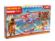Pista macchinine vigili del fuoco con camion pompieri elicottero 2 livelli