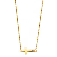 14K Solid Yellow Gold CZ Sideways Cross Pendant Rolo Chain Necklace Set - Charm
