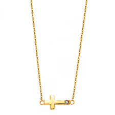 14K Solid Yellow Gold CZ Sideways Cross Pendant Rolo Chain Necklace Set - Charm
