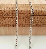 """New 925 Sterling Silver Diamond Cut Chain Men Italy Figaro Necklace 20"""" 3mm"""
