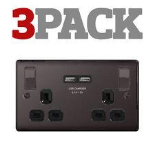Black Nickel 2-Gang Plug Socket Home Electrical Fittings