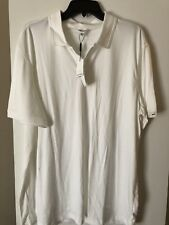 Calvin Klein Men's Short Sleeve Liquid Cotton Polo-White EXTRA LARGE SOLD AS IS