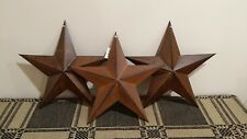 "3 Primitive 12"" Rusty Barn Stars, Metal, Star, Rustic, Country, 3D, New"