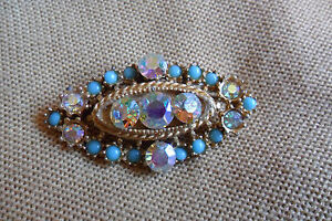 Great vintage 1950's-1960's paste stones and turquoise costume jewellery brooch