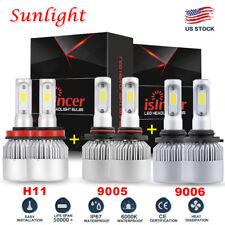 9005+9006+H11 LED Headlights Bulbs 4500W 675000LM Hi/Low Beam 6000K Fog Lights
