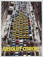 2000 Absolut Citron yellow taxi cabs traffic street scene photo vintage print Ad