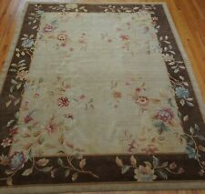 """Chinese Art Deco Style Tibetan Hand-Knotted Wool Oriental Rug Beige 8' x 9'7"""""""