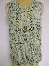 CAbi 257 Printed Sleeveless Crossover Tee Top Green Gray Keyhole Large