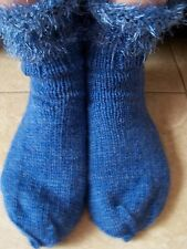 Hand knitted wool blend socks with fuzzy trim, blue
