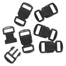 Lot of 6 Black Plastic Buckle Clasps For Parachute Survival Bracelets w/4mm Hole
