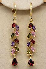 18K Yellow Gold Filled- 2.1'' Leaf Flower Ruby Topaz Amethyst Prom Hoop Earrings