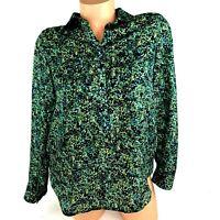 Ann Taylor LOFT Womens Blouse Size S P Small Petite Green Long Sleeve A13