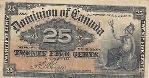1900 Dominion of Canada 25 Cents Shinplaster - Boville Signature - No reserve
