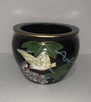"Asian Style Porcelain Hand Painted Fish Bowl Planter Vase 6 1/2"""