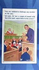 Vintage Donald McGill Comic Postcard 1930s Judge JURY Lawyer Attorney BOXING