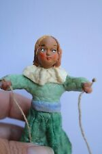 Old Vintage Christmas Ornament Spun Cotton Mica Girl with a skipping rope