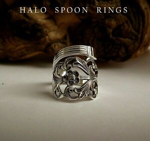 NORWEGIAN SOLID SILVER PICKLE FORK RING VIKING ROSE 1960 PERFECT CHRISTMAS GIFT