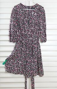 LANE BRYANT NWT $69 Darling Purple Floral Bow Tie Belted Romper Size 14