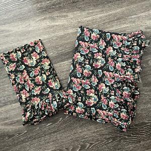 VTG Ralph Lauren Bistro Floral Black Ruffle Pillowcase Flat Sheet Set Full Size