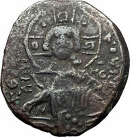 JESUS CHRIST Class B Anonymous Ancient 1028AD Byzantine Follis Coin CROSS i80727