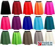 Ladies PLAIN Stretch OFFICE A-Line Midi SKIRT Fit Size 8-18 UK MADE