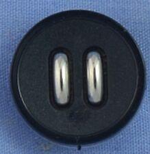 18mm Black / Silver Shank Button (x 2 buttons)