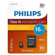 Philips 16gb Micro SD SDHC Class 10 UHS-I Tarjeta de Memoria 80MB/s + Adaptador