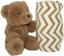 "SILVER ONE Brown White Chevron Plush Bear Blanket 40"" x 50"" Throw Baby Gift Set"