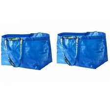 2X New IKEA FRAKTA Large Blue Bag Reusable 19Gal Eco Tote Shopping Laundry Bag