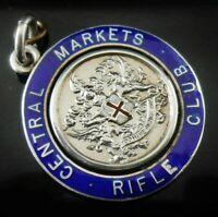 Silver Enamel Pocket Watch Fob Medal, Rifle Club, Birmingham 1908