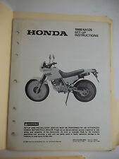 1988 HONDA NX125 NX 125 SET-UP INSTRUCTIONS SHOP MANUAL GENUINE OEM Motorcycle