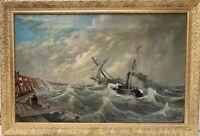 1893 Antique 19th c oil painting on canvas, Carl L.Lindquist 1856-1941, seascape