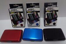 Security Credit Card Wallet Blocks RFID Scanning NIB Various Colors Aluminum