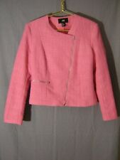 H&M womens MOTO Jacket Blazer size 10 M Pink Tweed Full Zip Asymmetrical Zipper
