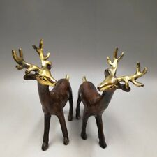 Chinese Antique Old copper hand-made gold-plated lucky deer Home decoration